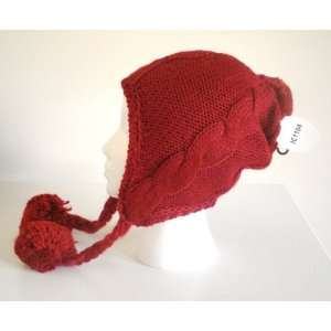Womens Red Cable Knit Winter Ski Beanie Ear Flap Hat Pom
