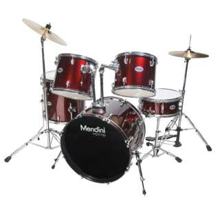 NEW 5 PIECE COMPLETE DRUM SET +CYMBAL+STOOL ~WINE RED