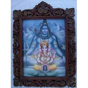 Lord Shiva & Ganesh doing mediation, Wood Frame