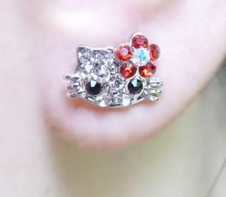 Hello Kitty Crystal Bling Earring Earbob Stud Mini Size In Gift Box