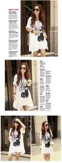 New Korean Womens Fashion Cool Casual Oversized Loose Long Tee T shirt