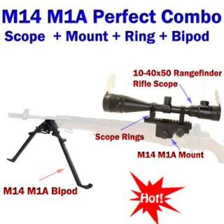 AIM M14 M1A Steel Rifle Bipod + Scope + Mount + Ring