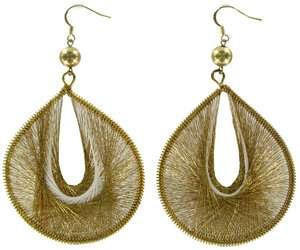 BIG Gold Metallic Thread Large Dangle Earrings