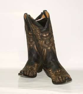 319 Mens Resistol Ranch Western Boots M3414 Black Crackle Calf w