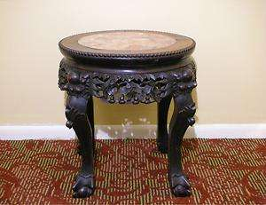 Hardwood Marble Wood Carving Plant Stand Table (H 17.5)