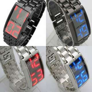 Samurai Metal Mirro LED Faceless Bracelet Watch Man Women Lady Luxury