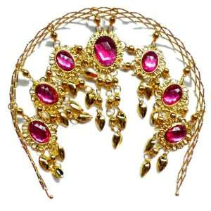 Belly Dance Deluxe Gold Metal Headband with Hotpink Rhinestones    A