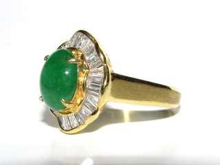 7200 18KT RARE NATURAL APPLE GREEN NATURAL JADE DIAMOND RING