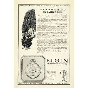 1924 Ad Antique Elgin Pocket Watch Streamline Model Star