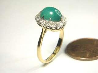 LOVELY ANTIQUE ENGLISH 18K GOLD PLATINUM DIAMOND TURQUOISE RING c1920