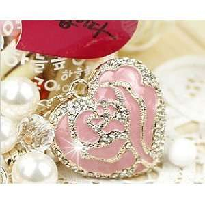 Cute Pink Crystal Rose Heart Keychain
