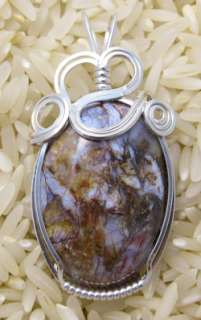 Pietersite Gemstone Sterling Silver Wire Wrapped Pendant