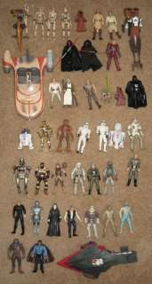 Lot of 41 Star Wars Action Figures with Landspeeder STAP Bike