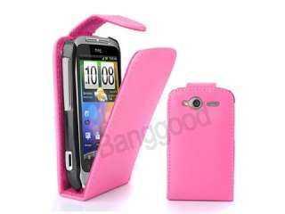 ROSE RED Flip LEATHER CASE COVER FOR HTC WILDFIRE S G13