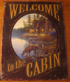 WELCOME TO THE CABIN Rustic Log Cabin Primitive Deer Lodge Home Decor