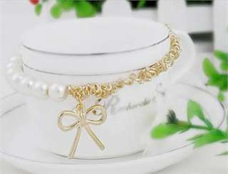 Fashion Lovely Cute Pearl Bowknot Bangle Bracelet k06 white Pearl+