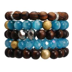Layers made of Wood, Glass and Beads Stretchable Bracelet. Brown