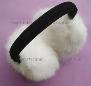 NEW White Soft Warm REAL Rabbit Fur Earmuffs Ear Muffs