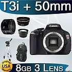 USA Canon EOS Rebel T3i 600D + 3 Lens 8GB Pro DSLR Camera Kit NEW