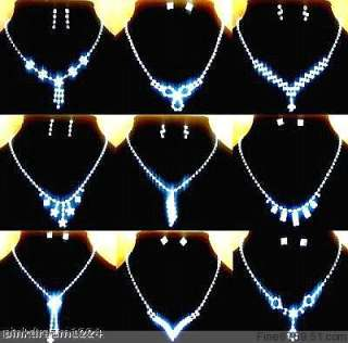 Lots Fashion 10Sets Mixed Crystal Rhinestone Necklaces&Earrings