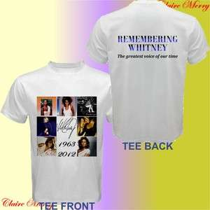 Remembering Whitney Houston 1963 2012 Seven Studio Album White T shirt