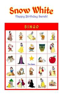 Snow White Birthday Party Game & Activity Bingo Cards