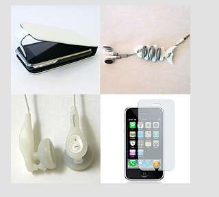 WHT Iphone 3G S leather flip case cover & earphone pack