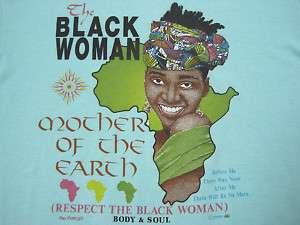AFRICA 80s vtg BLACK WOMAN T SHIRT afrocentric SOUL LARGE