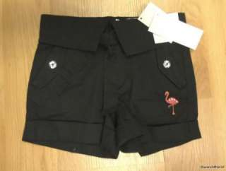 Palm Beach Paradise Flamingo Black Shorts 3 4 5 6 7 8 Years Available