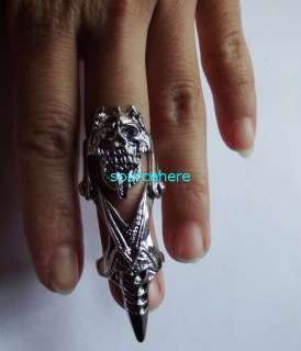 Ring Punk Armour Knuckle Silver Tone Tongue Rings with Hinge