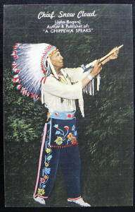 CHIPPEWA INDIAN~ CHIEF SNOW CLOUD WITH PEACE PIPE