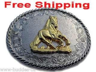 Western Wild Horses Cowboy Rodeo Big Pewter Belt Buckle