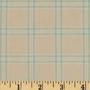 44 Wide Woven Cotton Shirting Plaid Cream/Blue Fabric By