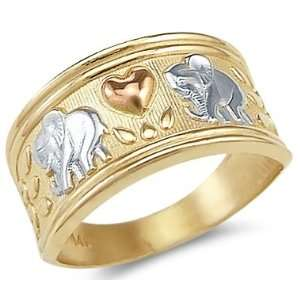 12   New 14k Yellow Tri Color Gold Elephant Love Heart Ring Jewelry