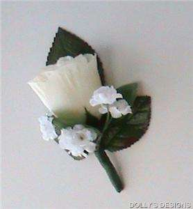 BOUTONNIERE IVORY Silk ROSE Wedding Silk Flowers Groomsmen