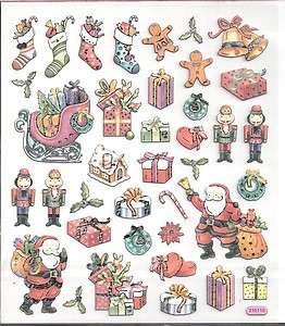 Country Christmas gift Santa stickers w/ silver accents