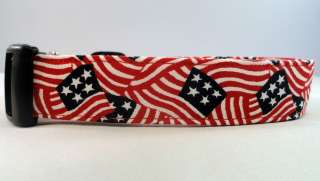 Patriotic Waving Flag Red White and Blue Dog Collar