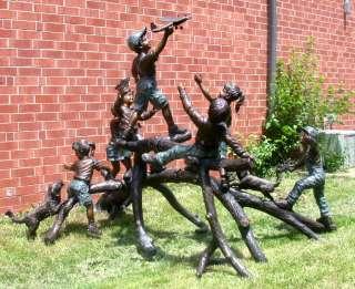 Large Cast Bronze Children w/ Water Guns Water Fountain