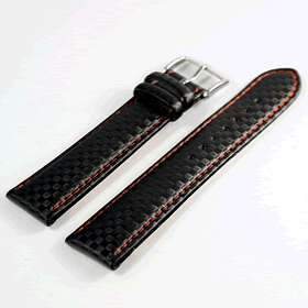 Di Modell Carbon Black with Red Stitch Watch Strap (F2)