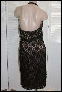 style halter dress, black lace over tan satin lining, empire waistline