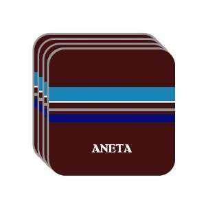 Personal Name Gift   ANETA Set of 4 Mini Mousepad Coasters (blue