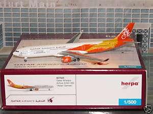 Herpa Qatar Airways Asian Games Airbus A330  300 Orange