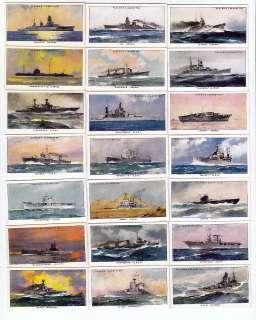 1939 Set of 50 Warships Cards USA USSR Japan Germany United Kingdom