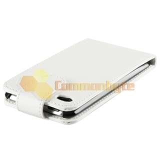 White Flip PU Leather Case Cover+Privacy Protector For iPod Touch 4 G