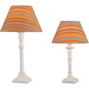 Lite Source Ls 22740 Pair Of Table Lamps In White With Bright Multi
