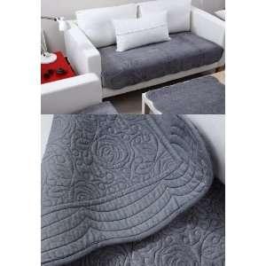Velvet Sofa Cushion Couch Chair Cover Pad Throw Pet Mat Blue   Gray