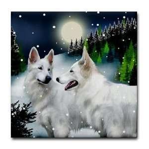 German Shepherd Dog Snow Mountain Tile Coaster by CafePress: