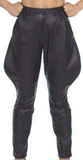 Mens Black Leather Jodhpurs Motorcycle Riding Pants