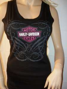 NWT Harley Davidson Black Pink Allegiance Bar Shield Tank Top T Shirt