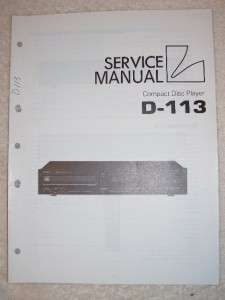 Luxman/Lux Service Manual~D 113 CD Compact Disc Player